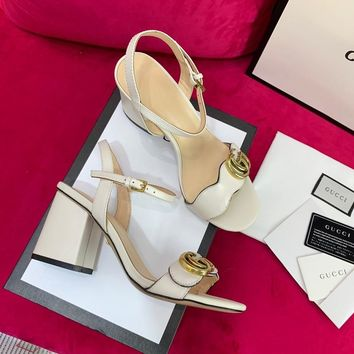 Ready Stock Gucci White Leather Mid Heel 75mm Double G Sandal