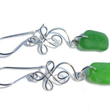 Celtic Sea Glass Earrings Hand Forged by SeaglassReinvented