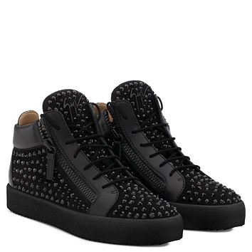 Giuseppe Zanotti Gz Doris Black Suede Mid-top Sneaker With Black Crystals