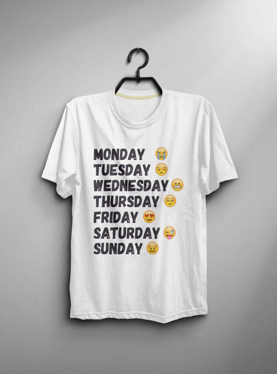 Days of the week shirt tshirt instagram from bes10 on etsy for Best selling t shirts on etsy