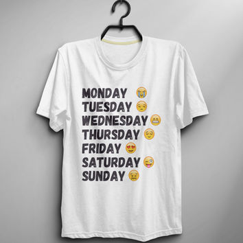 Days Of The Week Shirt Tshirt Instagram Tumblr Shirt Funny Tshirt Men Top Tee Shirt T-shirt - Size XS S M L XL (T038)