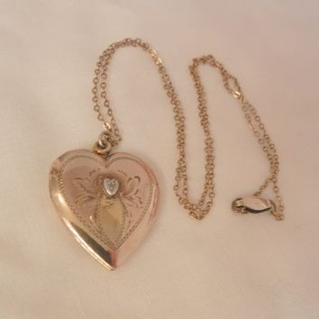 Beautiful Allco Circa 20's Sterling GF Diamond chip etched Heart Locket Necklace