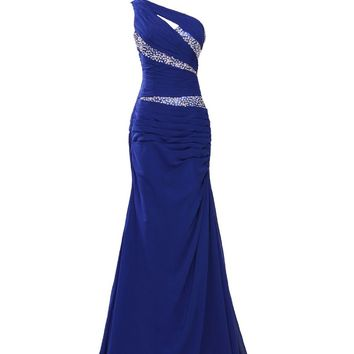 IDOBRIDAL One Shoulder Rhinestone Long Bridesmaid Evening Party Prom Dress 03-Purple US size 8