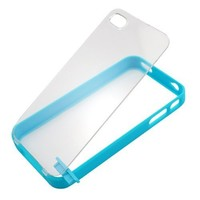 Baby Blue Hard Plastic Bumper Case with Clear Hard Back for Iphone 4 & 4S