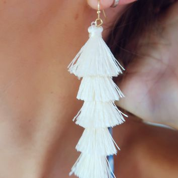 Falling In Love Earrings: White