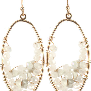 Natural Stone Chip Cluster Oval Earrings White