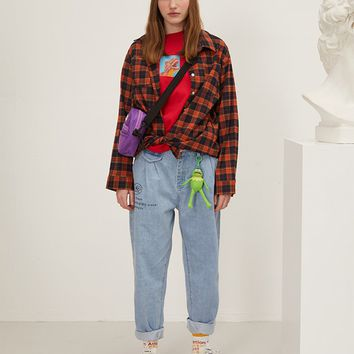 Red Plaid Oversized Shirt
