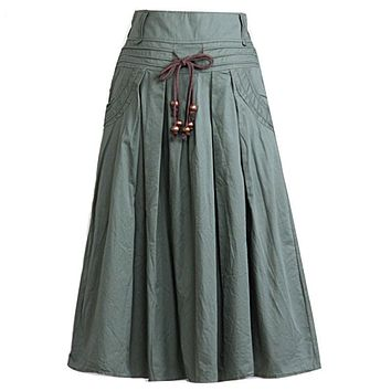 Women long skirt 2015 Summer Autumn saia longa Solid Linen skirt Maxi Skirts Women Big Pockets High Waist Pleated Casual Skirts