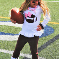 Girls Football Outfit, Girls Football Shirt, Girls Personalized Football Outfit, Pink Football Outfit, Toddler Girls Football Tutu, NFL Tutu