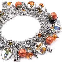 The Pumpkin Patch Autumn Silver Charm Bracelet