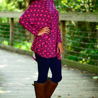 Real Love Tunic, Fuchsia/Navy