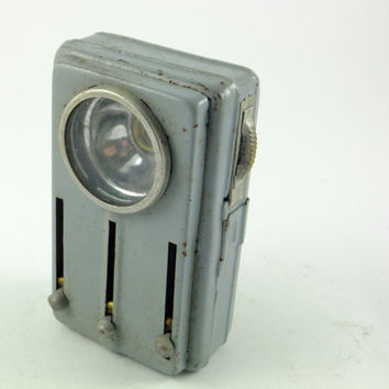 Vintage Grey Old Railroad Signal Flashlight Lamp