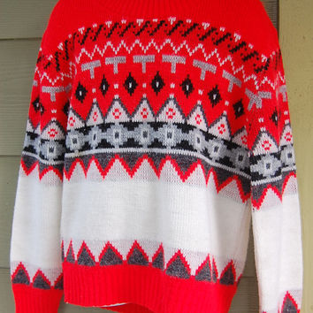 Vintage 60s 70s Red Gray & Black Nordic Ski Sweater Size Kids L Adult XS Cropped