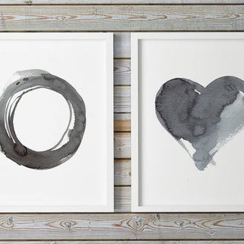 Large Art Watercolor Set Abstract Print Painting Original Gray Minimal Ink Oversized Circle Monochromatic Huge Heart Geometric Giclee Print