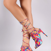 Neon Leaves Peep Toe Lace Up Stiletto Heel