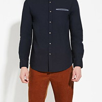 Chambray-Trim Cotton Shirt