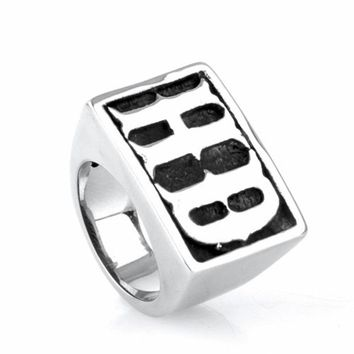Mens Boys Jewelry Cool Punk Black Silver Tone Initial Letter HD Mortorcycle Signet 316L Stainless Steel Ring