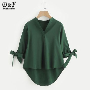 Tie Cuff Dip Hem High Low Blouse Woman V Neck Half Sleeve Vogue Top Army Green Band Collar Bow Blouse