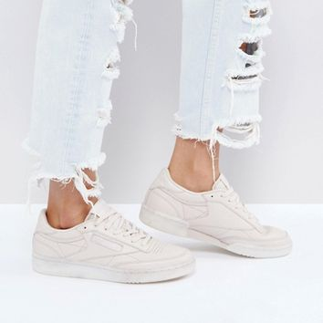 Reebok Classic Club C 85 Face Trainers In Nude at asos.com