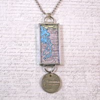 Puget Sound Map and Coin Pendant Necklace