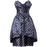 Loris Azzaro Vintage Polka Dot Bustier Top + Skirt 2-Piece Dress Ensemble