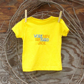 Baby  Duck Dynasty T shirt ,yellow,  work hard, nap hard,  Jack  6, 12, or 18  months, machine embroidery,