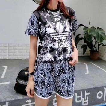 """""""Adidas"""" Women Casual Retro Peacock Feather Print Short Sleeve Shorts Set Two-Piece Sp"""
