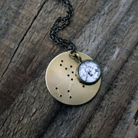 Constellation Zodiac Necklace with Star Chart and Hevelius Atlas Charm