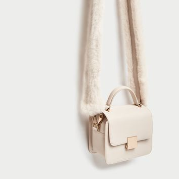 MINI CITY BAG WITH FAUX FUR STRAP DETAILS