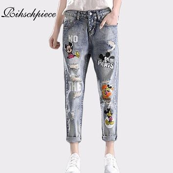 Rihschpiece Boyfriend Ripped Jeans Woman Mickey Mouse High Waist Denim Pants Stretch Patch Trousers Embroidered Jeans RZF983