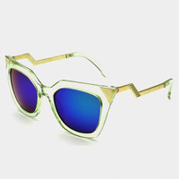 Zig Zag Shape Alloy Mirror Bracket Sunglasses