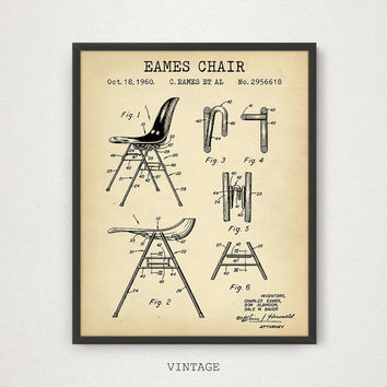 Eames Chair Patent Printable, Modern Art, Office Decor, Retro Furniture, Eames Chair Design Blueprint Living Room Wall Art Vintage Chair art