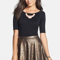 Mimi Chica Metallic Faux Leather Skater Skirt (Juniors) | Nordstrom