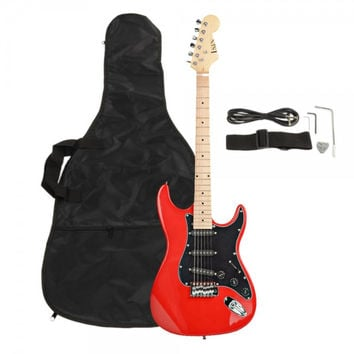 FULL Black Pickguard Electric Guitar Red with Amplifier, Bag, Strap, Tools, Pick, Kit