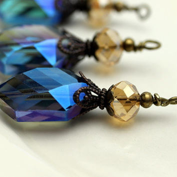 Montana Blue AB Oval Hexagon Faceted Crystal and Golden Rondelle Crystal Bead Dangle Charm Drop Set