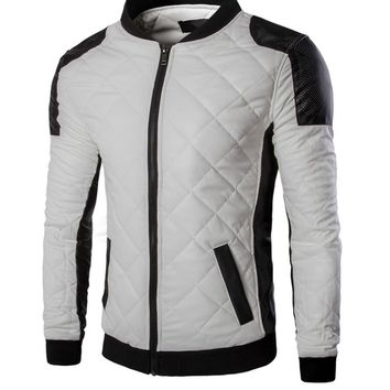 Casual Men Modern Band Collar Quilted Plain Bomber Jacket