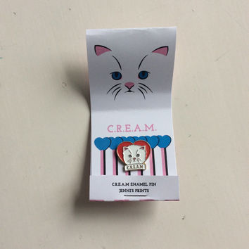 Red or Blue C.R.E.A.M Cat Rule Everything Around Me lapel enamel pin Wu Tang Clan Kittens Heart Cute