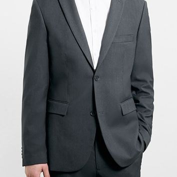 Men's Topman Grey Slim Fit Suit Jacket,