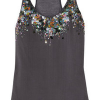 Roberto Cavalli | Sequin-embellished silk and modal tank | NET-A-PORTER.COM