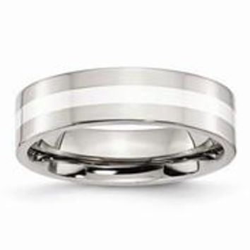 Stainless Steel Sterling Silver Inlay Flat 6mm Polished Wedding Band Ring