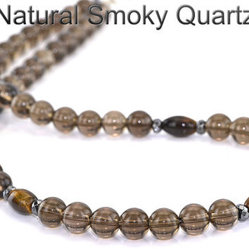 PN-004 Natural Grade A Smoky Quartz Sterling Silver Unisex Choker Necklace.