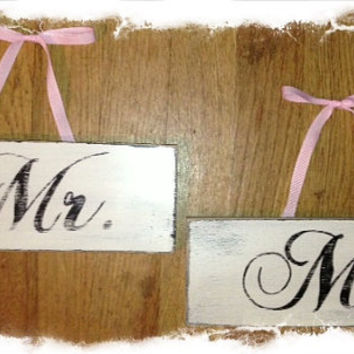 "Vintage Inspired, Distressed ""MR & MRS""  Wedding Sign Country Shabby Chic- Great Gift Can be Custom Ordered"