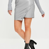 Missguided - Grey Faux Leather Asymmetric Eyelet Detail Mini Skirt