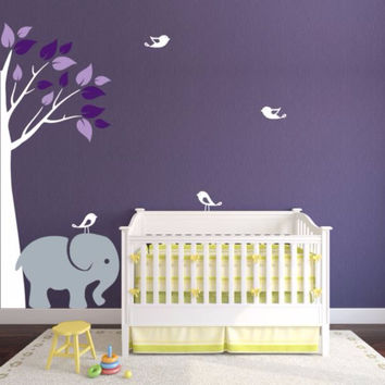 Baby Room Corner Jungle Tree With Elephant And Cute Birds