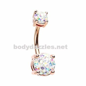 Rose Gold Sprinkle Dot Multi Gem Prong Set Belly Button Ring Surgical Stainless Steel