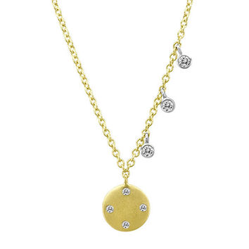 Classic Brushed Yellow Gold Disc Necklace with Off-Centered Diamond Charms