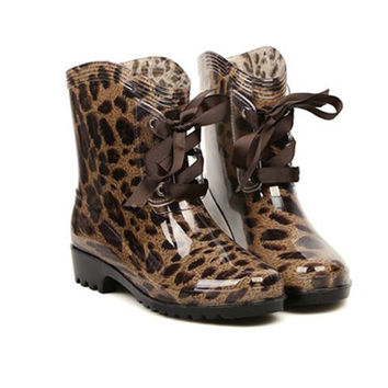 Leopard Print Rain Boots With Lace-Up