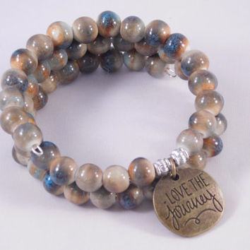 Love the Journey Bracelet - Beaded Wrap Bracelet - Earth Tones - Blue and Brown Jewelry