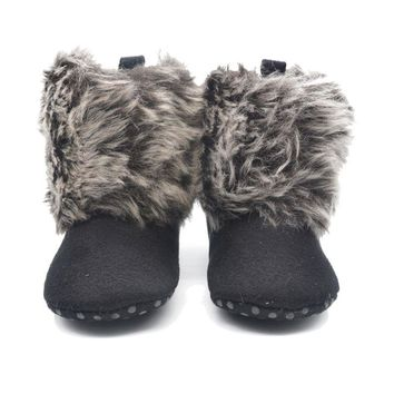New Warm First Walkers Winter Baby Ankle Snow Boots Infant Crochet Knit Fleece Baby Shoes For Boys Girls