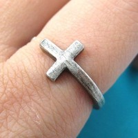 Adjustable Cross Ring in Silver